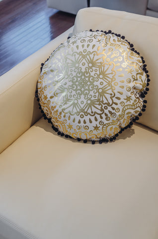 Gold Mandala Throw Pillow