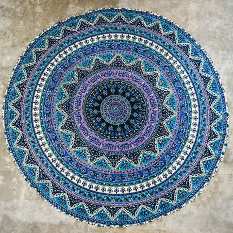Blue Round Elephant Wall Tapestry