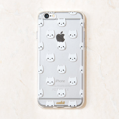 Clear White Cat Kitty Kitten Meow iPhone 6 Plus case