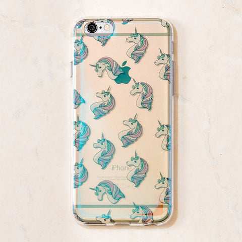 Clear Multicolor Unicorn Magical Cute iPhone 6 case