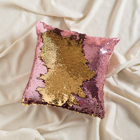 Gold Pink Mermaid Sequin Pillow