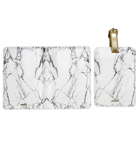 Marble Passport and Luggage Travel Set