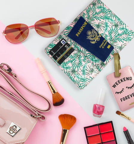 Pink Palm Leaf Travel Set