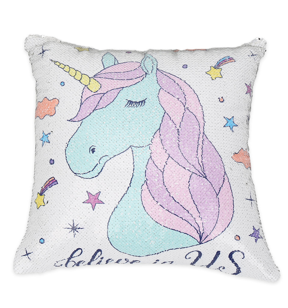 White Blue Unicorn Sequin Pillow Ankit
