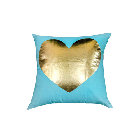 Turquoise Gold Heart Throw Pillow