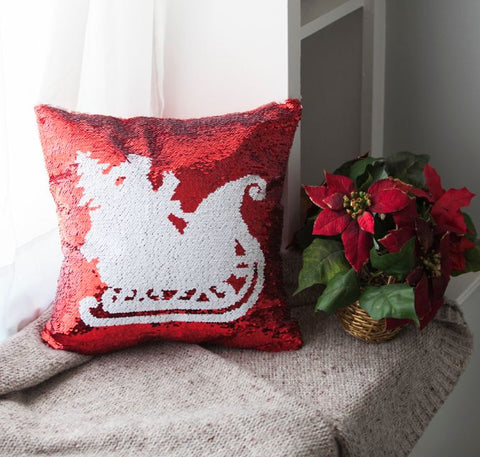 Christmas Pillow Cover Pack of 4 - Red Green & SIlver