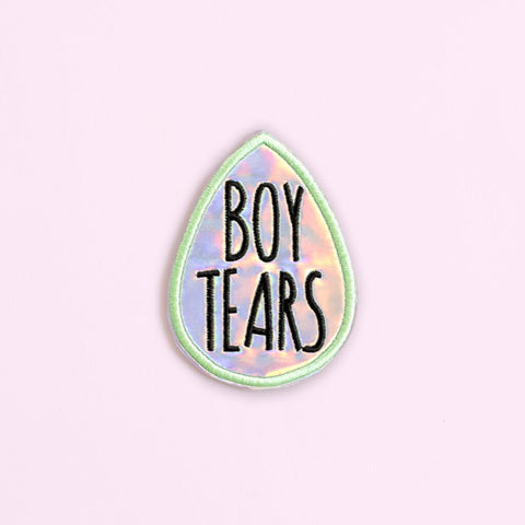 Ankit White Holographic Boy Tears DIY Patches