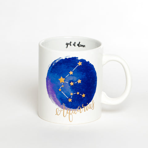 Aquarius White Blue Zodiac Coffee Mug