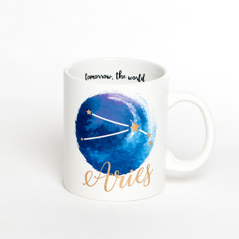 Aries White Blue Zodiac Coffee Mug