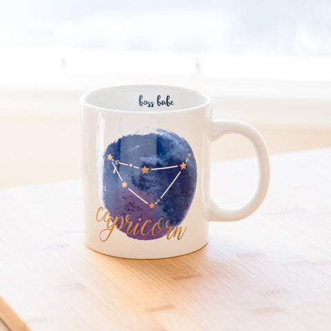 Capricorn White Blue Zodiac Coffee Mug