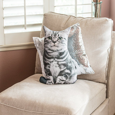 Die Cut Kitty Throw Pillow