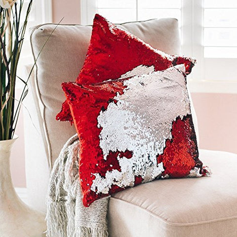 Mermaid Pillow Reversible Sequin Pillow that Changes color by Ankit - Red Silver