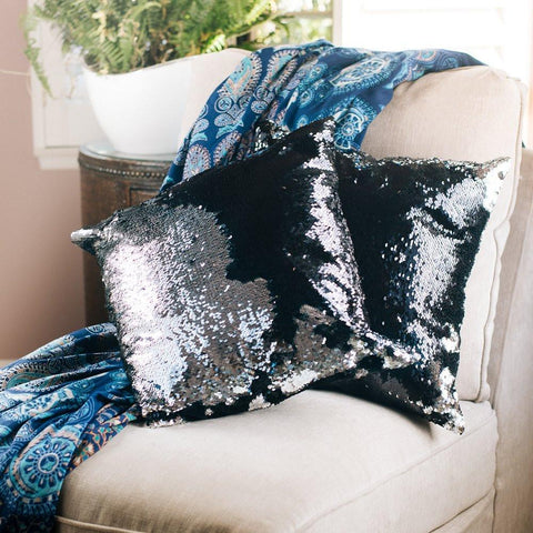 Mermaid Pillow Reversible Sequin Pillow that Changes color by Ankit - Black Silver