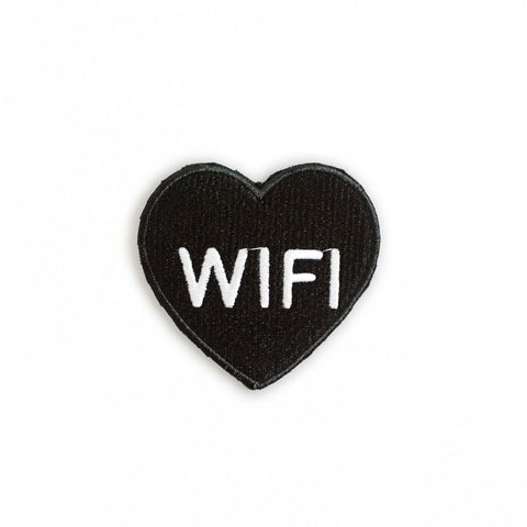 Ankit Black Wifi Heart DIY Patches