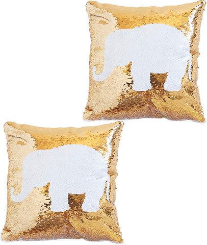 Elephant Gold Sequin Pillow - Pack of 2