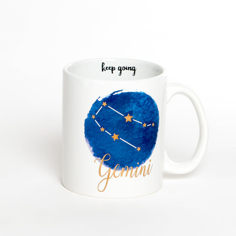 Gemini White Blue Zodiac Coffee Mug