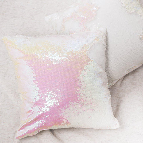 Mermaid Pillow Reversible Sequin Pillow that Changes color by Ankit - Iridescent Pink