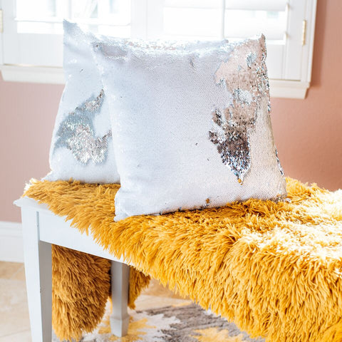 Sparkling Silver Mermaid Sequin Pillow
