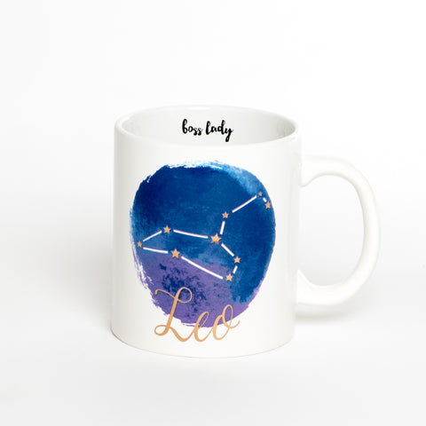 Leo White Blue Zodiac Coffee Mug