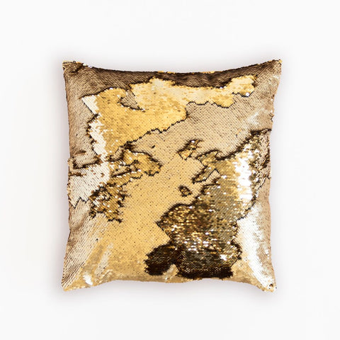 Mermaid Pillow Reversible Sequin Pillow that Changes color by Ankit - Shiney Gold Matte Gold
