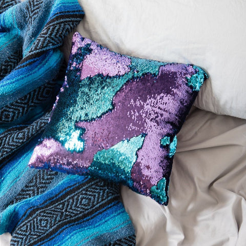 Mermaid Pillow Reversible Sequin Pillow That Changes Color - Aqua Purple Flip Sequin Pillow