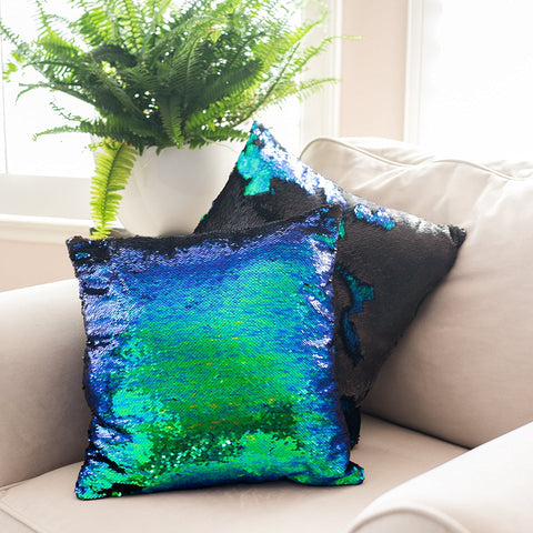 Mermaid Pillow Reversible Sequin Pillow- that Change Color by Ankit, Green Mermaid