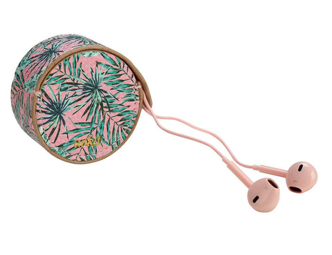 Pink Palm Leaf Earbud Case with Smart Buds with MIC