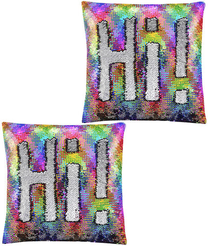 Rainbow Silver Sequin Pillow - Pack of 2
