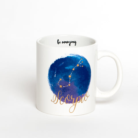 Scorpio White Blue Zodiac Coffee Mug