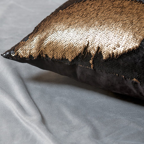 Mermaid Pillow Reversible Sequin Pillow that Changes color by Ankit - Gold Black