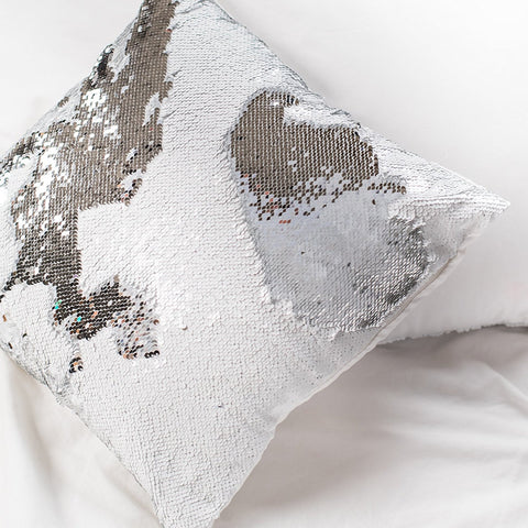 Mermaid Pillow Reversible Sequin Pillow that Changes color by Ankit - Sparkling Silver