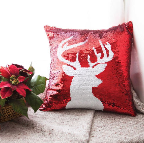 Reindeer Christmas Pillow with Insert