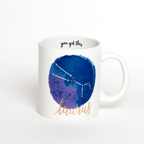Taurus White Blue Zodiac Coffee Mug
