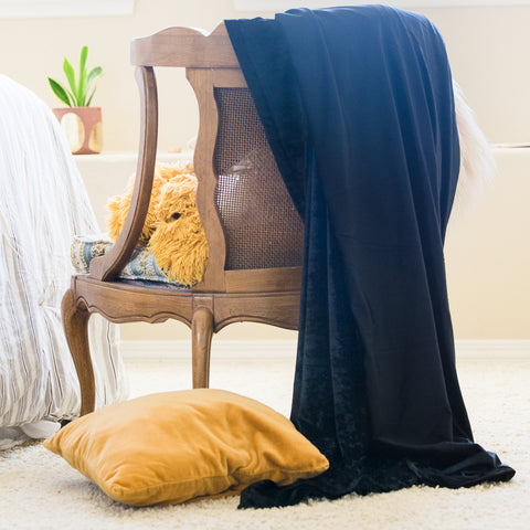Black Velvet Throw Blanket