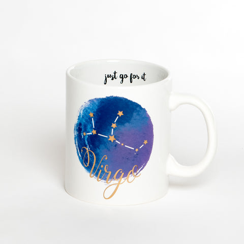 Virgo White Blue Zodiac Coffee Mug