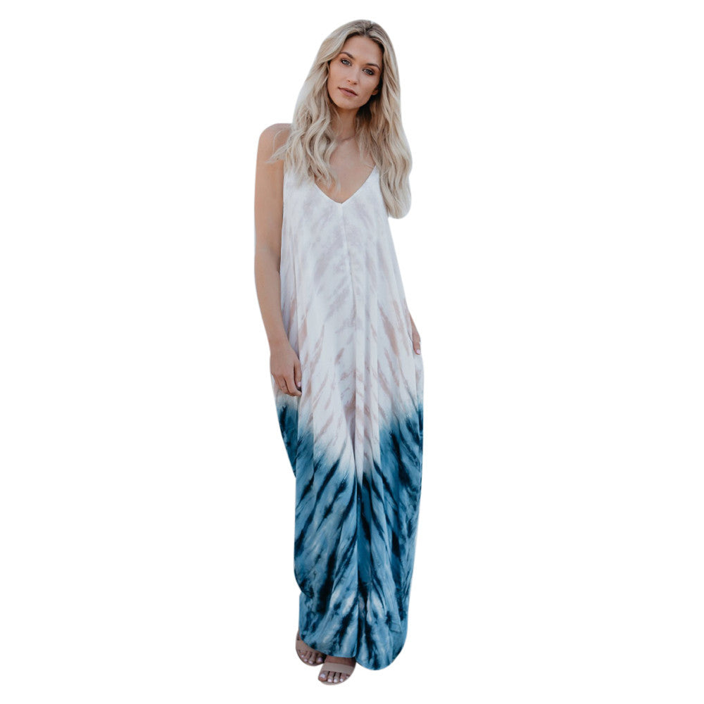 Blue Feather Woman Maxi Sundress