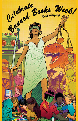 """Lady Justice"" Celebrate Banned Books Week Poster, by Mike Allred!"