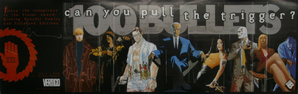 100 Bullets Promotional Banner, Signed by Brian Azzarello!