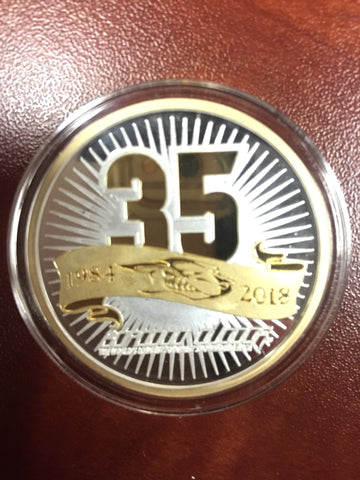 35th Anniversary Silver Coin with 24K Gold Relief