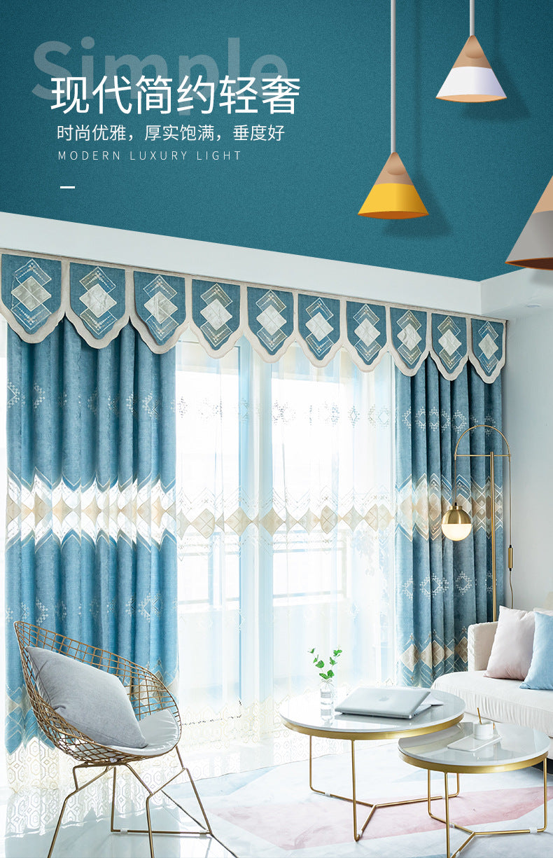 Blue Curtains Fabric Modern Curtain For Living Room Bedroom