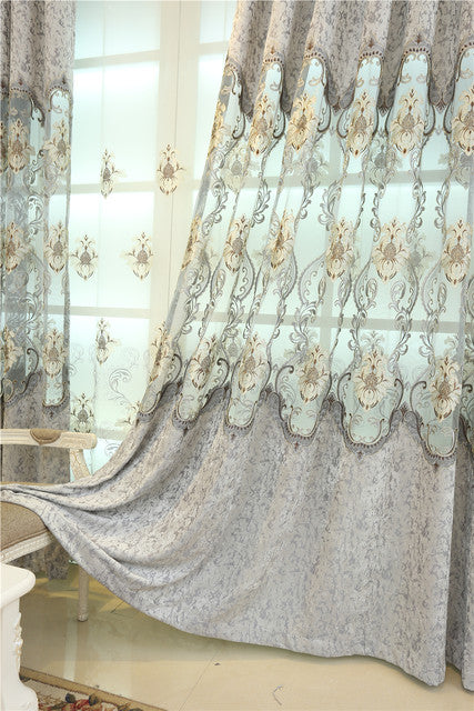 Blue Sky 2020 & Luxury European embroidery curtains for living room classic high-end custom curtains for bedroom Window curtain