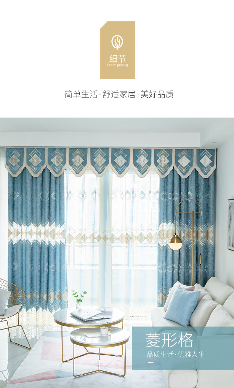 Blue Curtains Fabric Modern Curtain for Living Room Bedroom Simple Boys  Living Room Light Embroidered Curtains Curtains