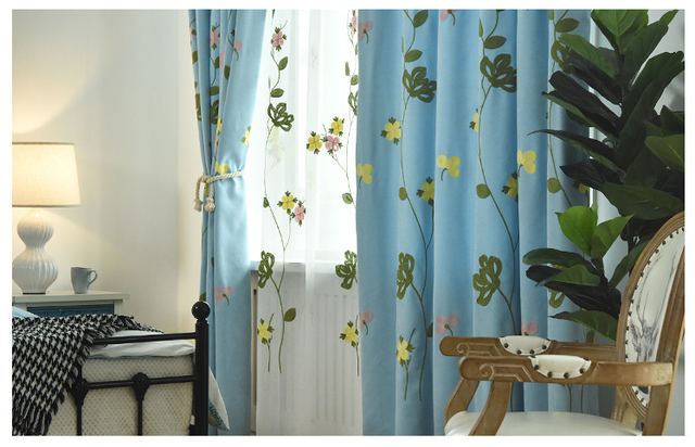Nordic Curtains for Living Dining Room Bedroom Embroidered Curtain Fabric  Bedroom Living Room Blackout Curtains