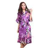 Women Silk Satin Long Wedding Bride Bridesmaid Robe Peacock Bathrobe Floral Kimono Robe Large Size Dressing Gown Peignoir Femme-lilogal