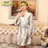 YT009 Summer Sexy Silk Satin Robe Bathrobe Dressing Gowns For Women Perfect Bridesmaid Robes Nightgown Fashion Hen Party Robes-lilogal