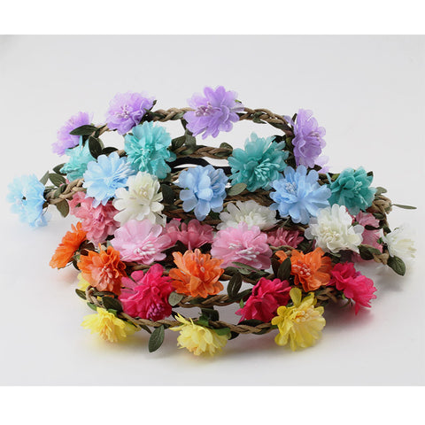 Women Lady Girl Summer Hair Accessories Headband Bohemia Flower Crown Wedding Wreath Bridal Headwear Beautiful Garland-lilogal