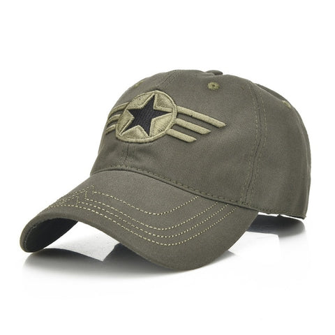 1Piece Army cap Baseball Cap Men Sports leisure hats star embroidery sport cap for men and women 100% cotton cap-lilogal