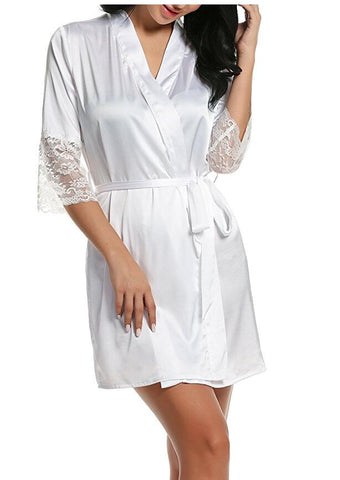 women's autumn style sexy lace bathrobes high quality real silk robe nightwear sleepwear temptation home wear female robe badjas-lilogal