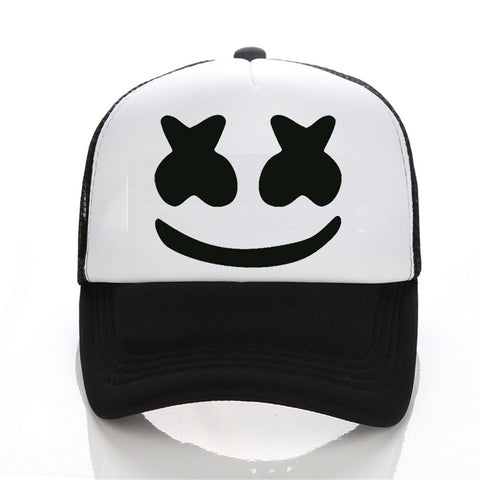 New Arrived marshmello face men baseball cap boy casual homme cap Black White Hat Snapback Hat Women Cap-lilogal