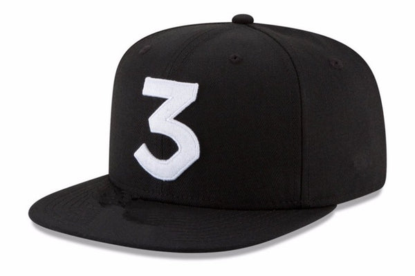 2017 Popular chance the rapper 3 Hat Cap Black Letter Embroidery Baseball Cap Hip Hop Streetwear Strapback Snapback Sun Hat Bone-lilogal